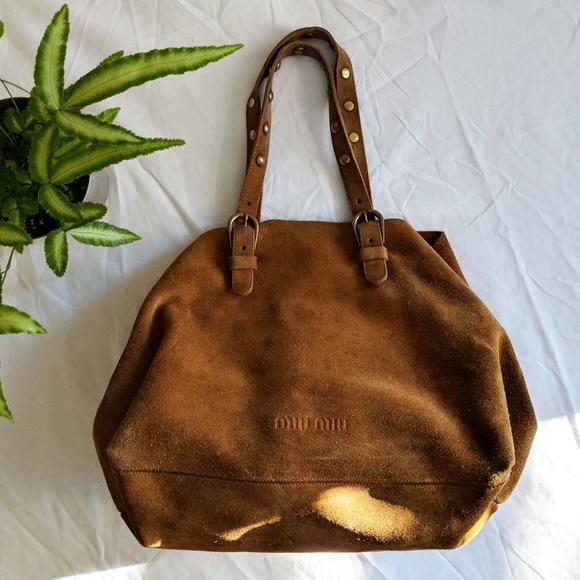 Miu Miu Vintage Camel Suede Hobo Bucket Bag Purse.  M 5a5aa86631a376205929c182 22d7423489